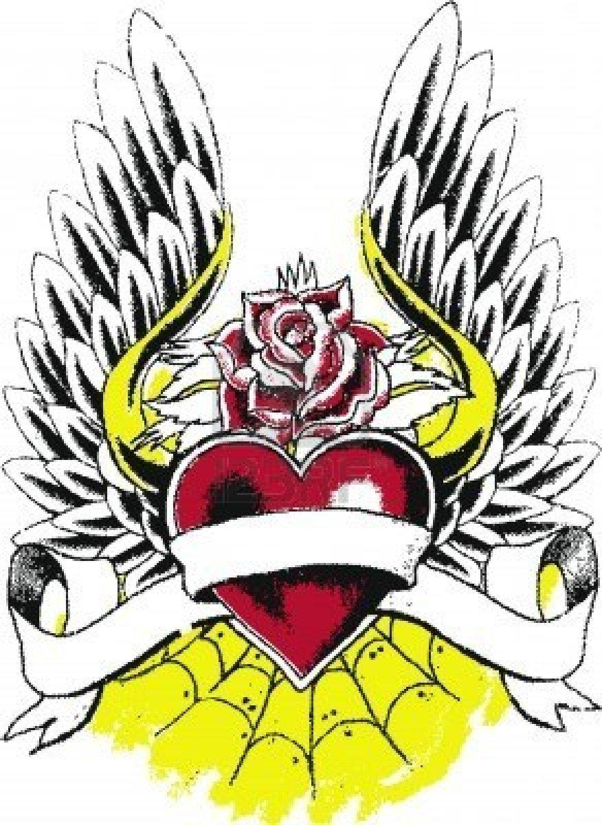 Corazon con alas y una rosa