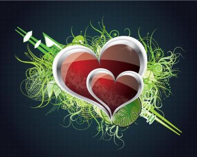 par de corazones romanticos