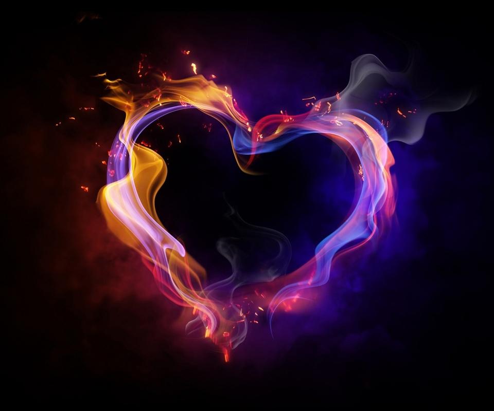 Corazón de humo colorido