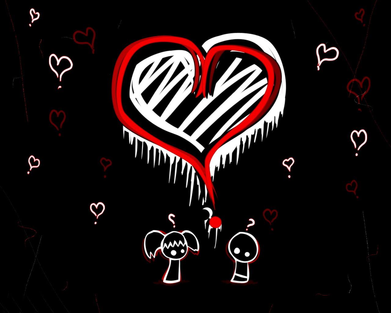Corazón emo blanco y negro