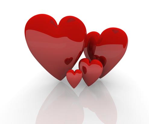 4 corazones enamorados