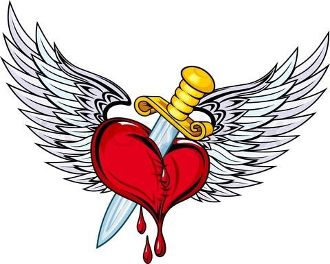 Corazon con espada y alas