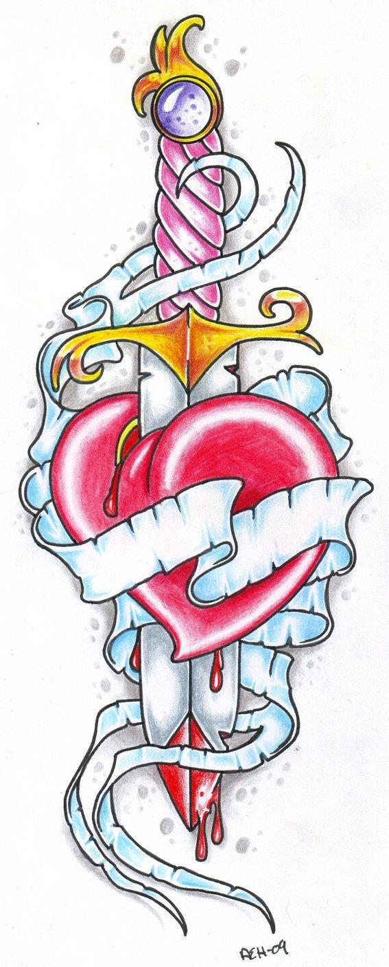Tatuaje corazon con espada