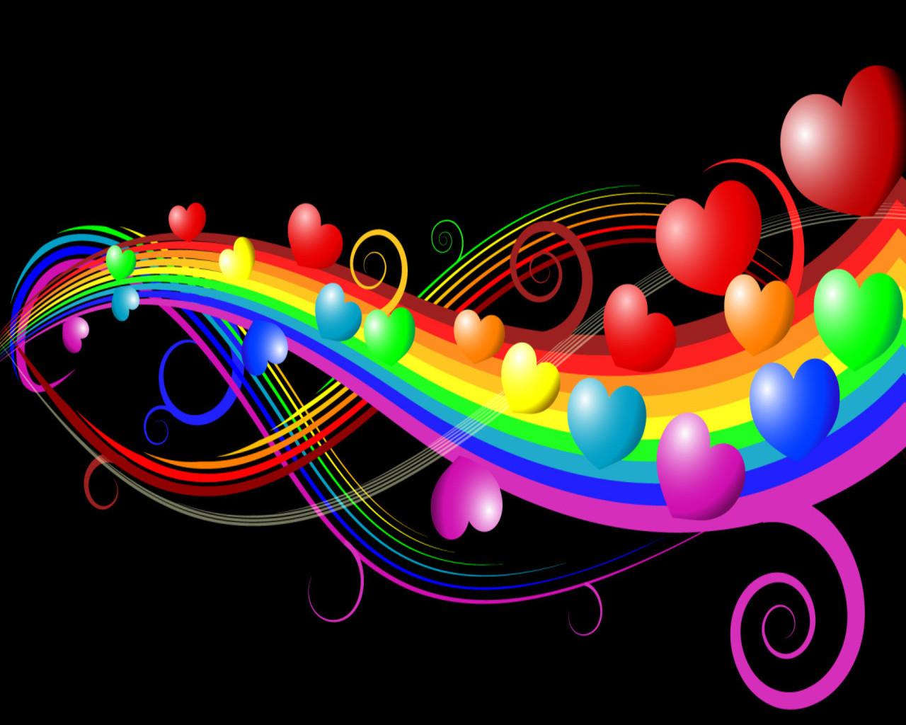 Corazones en un arcoiris