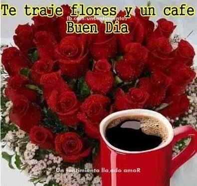 Buenos dias con flores y cafe