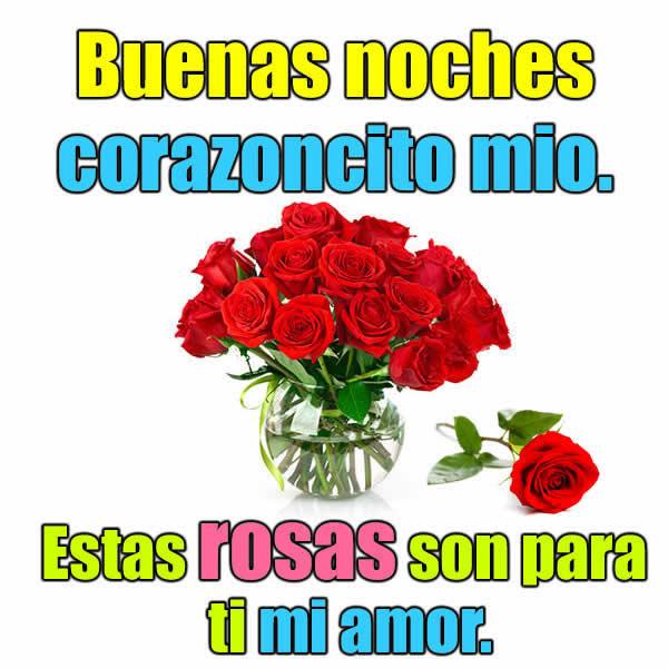 Buenas noches corazon con rosas