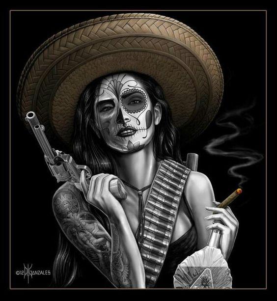 Mujer chola con sombrero mexicano
