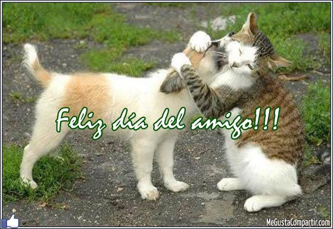 Feliz día del amigo con abrazo