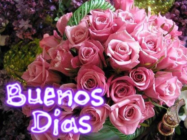 Saludo con rosas de buenos dias