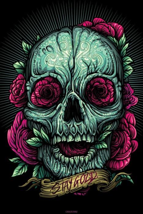 Craneo colorido Dia de Muertos