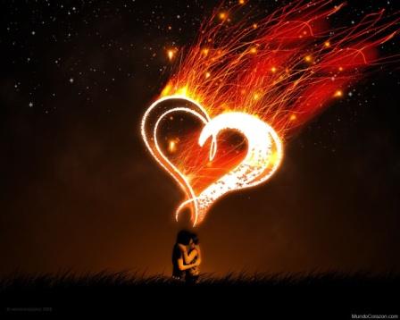 Corazones con pareja de enamorados