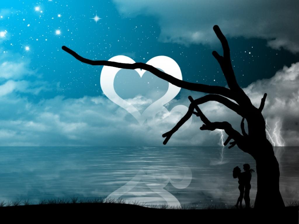 Paisaje romántico con corazon
