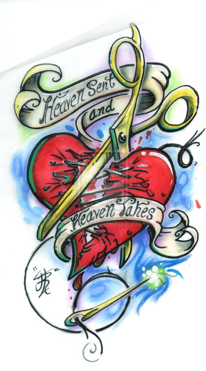 Corazon de tatuaje con frase