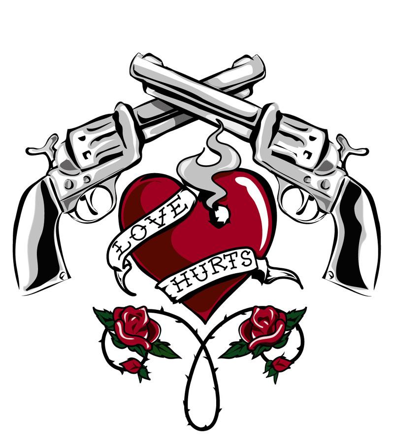 Corazón con revolver y rosas