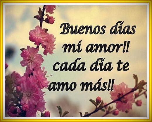 Buenos dias mi amor cada dia te amo mas