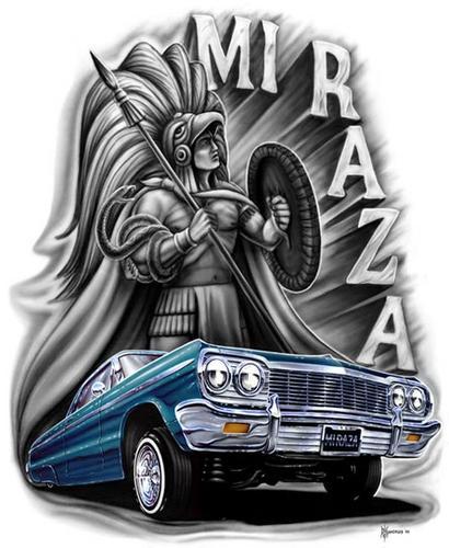 Cholo azteca con carro low rider