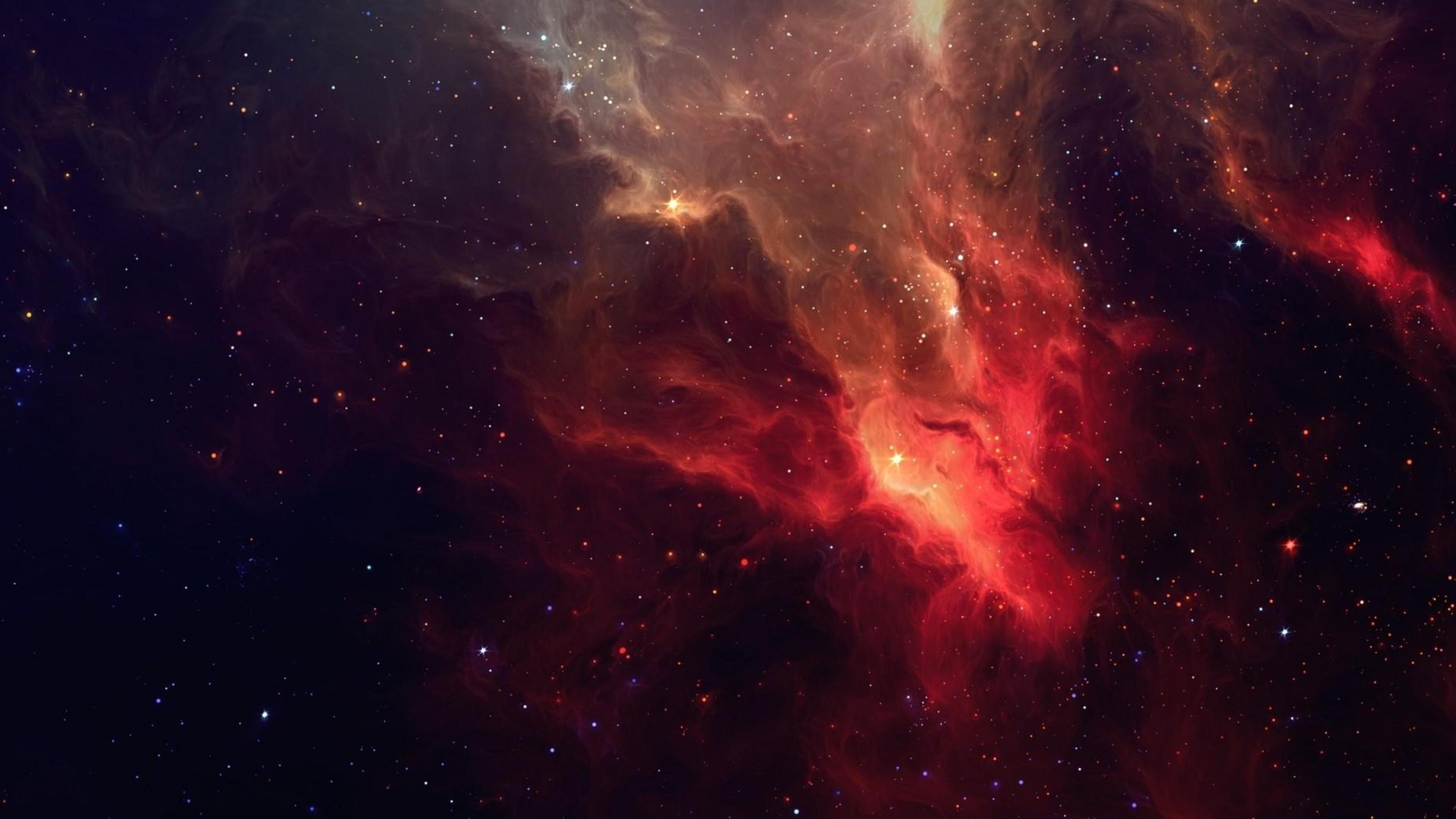 Galaxia Nebula tonos Rojos 4k
