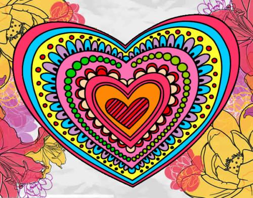 Mandala corazón de colores